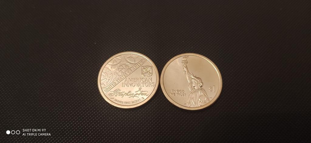 """Монета США 2018г. 1 доллар, Инновации """"Первый патент"""". UNC"""