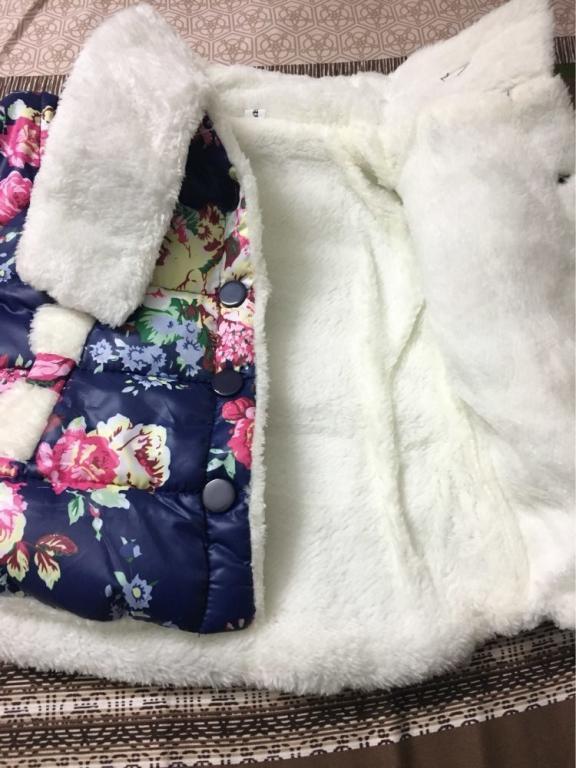 Куртка для девочки на меху Цветочный принт 2 цвета