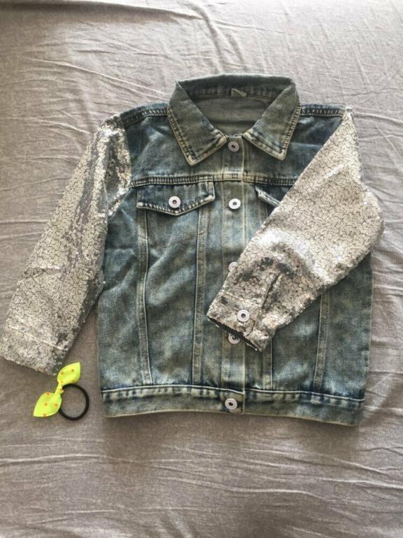 Модная джинсовая куртка Единорожек Пайетки Серебро