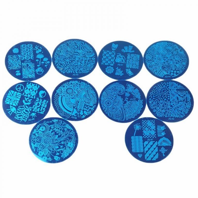 Трафареты для ногтей 10 шт. и силиконовый штамп