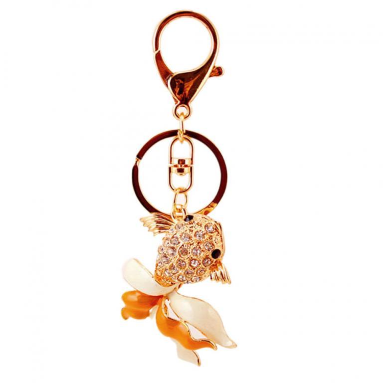 На ключи Брелок со стразами Золотая рыбка