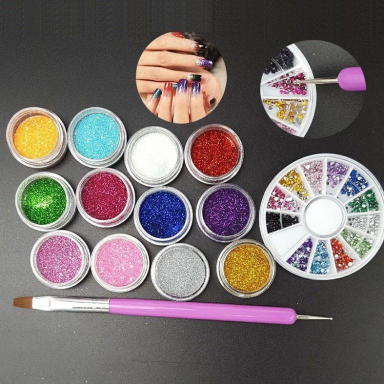 Блеск - песок 12 шт. и стразы для дизайна ногтей