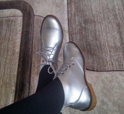 Кожаные демисезонные ботинки Золото Серебро Новинка