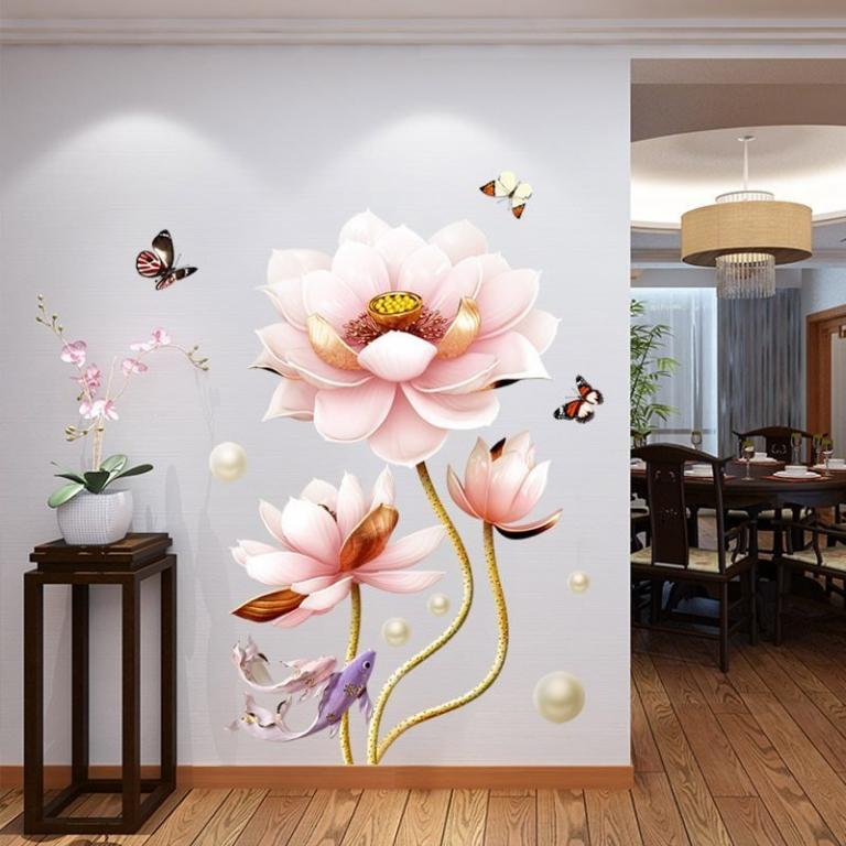 Наклейка для декора 3D Китайский стиль Лотос