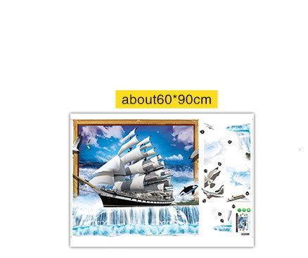 Стикеры Наклейки для декора 3D картина Парусник