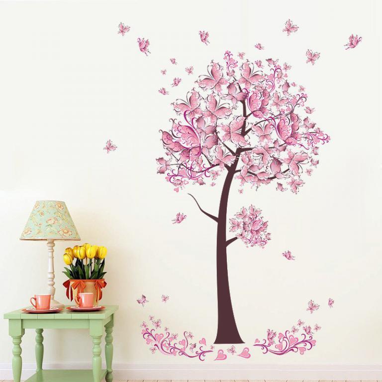 Стикеры Наклейки для декора Розовое дерево