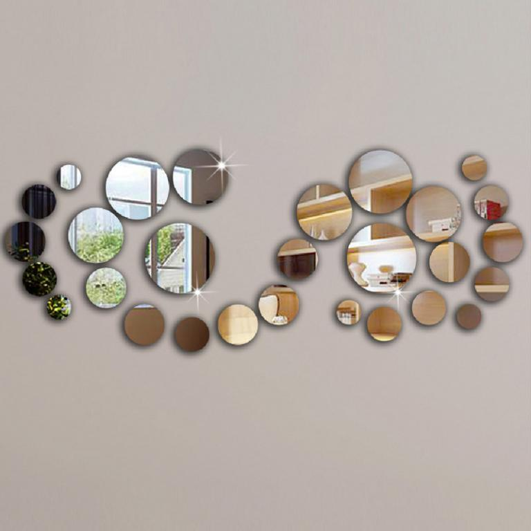 Наклейки Стикеры Зеркальный декор 25 шт. 3 цвета