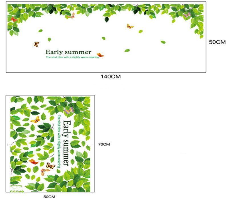 Стикеры Наклейки для декора Зеленые листья