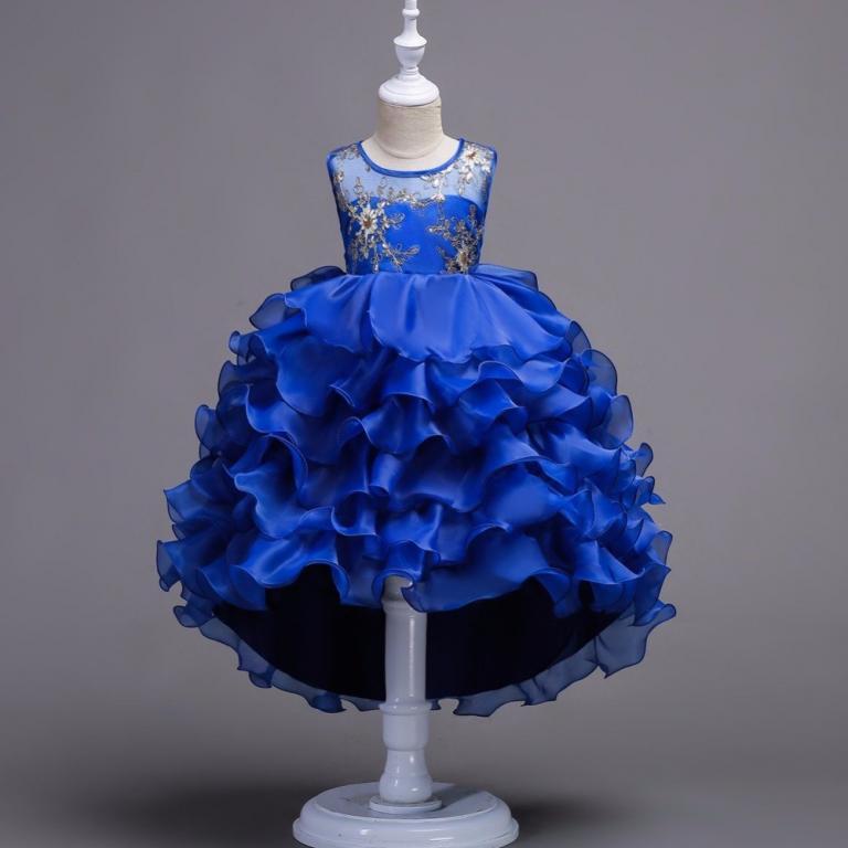 Нарядное платье с многоярусной юбкой 4 цвета