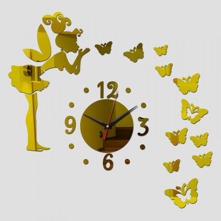 Наклейки Стикеры Зеркальные часы Фея