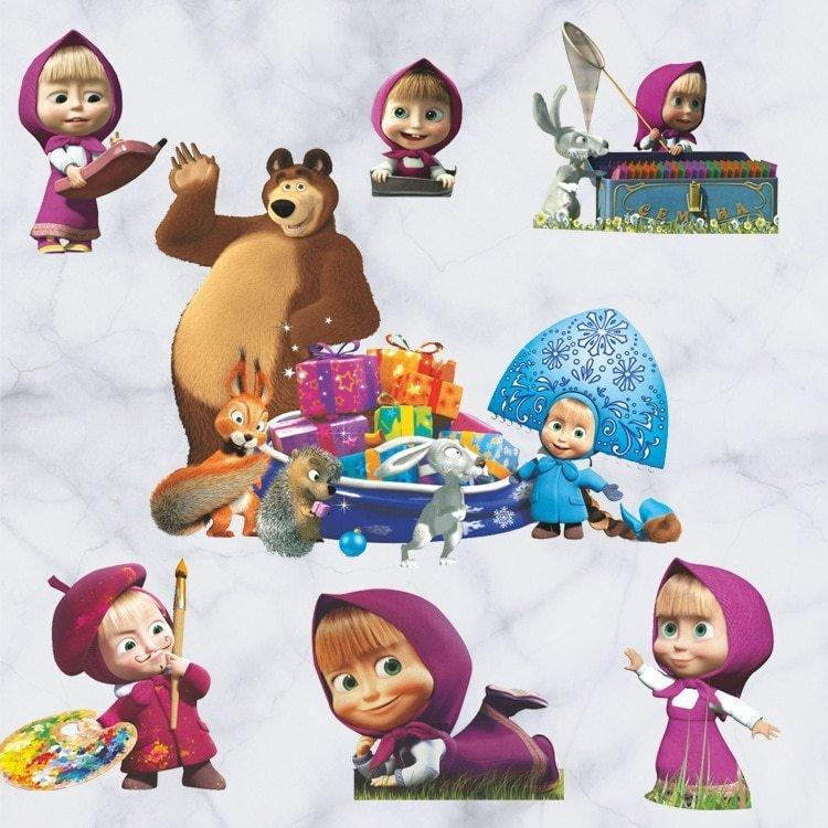 Наклейки в детскую Маша и Медведь