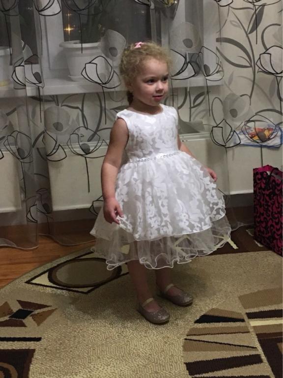 Пышное нарядное платье Белое Розовое