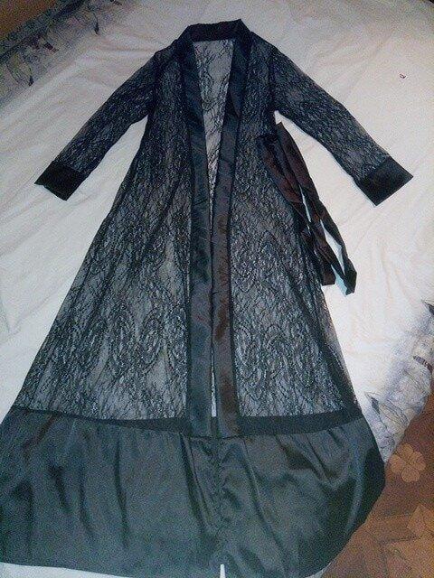 Ажурный длинный халат кимоно Кружево Белый Черный