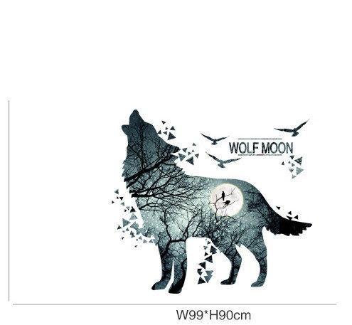 Наклейки Стикеры для декора Волк