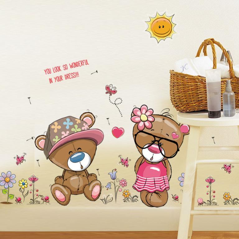 Стикеры Наклейки в детскую Два медвежонка