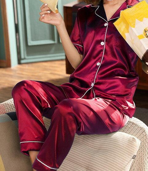 Атласная пижама рубашка Штаны 9 цветов Новинка