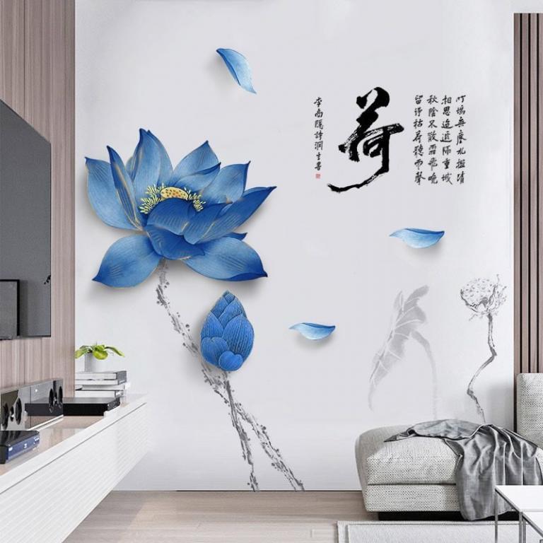Наклейка для декора Китайский стиль Большой синий лотос