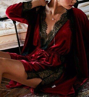 Роскошный бархатный комплект Сорочка Халат Кружево 4 цвета Новинка