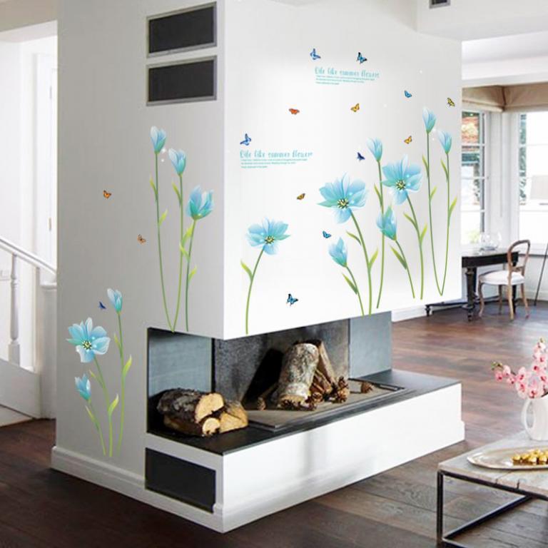 Стикеры Наклейки для декора Голубые цветы