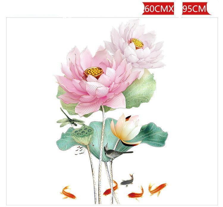 Наклейка 3D для декора Китайский стиль Цветок лотоса