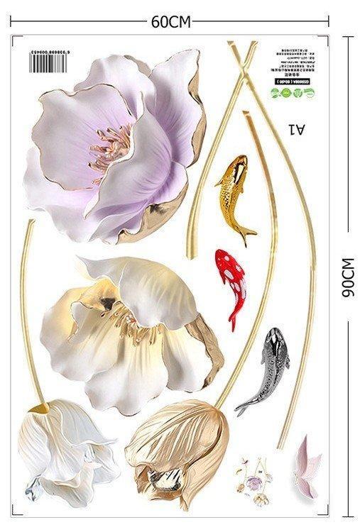 Наклейка для декора 3D Китайский стиль Цветы