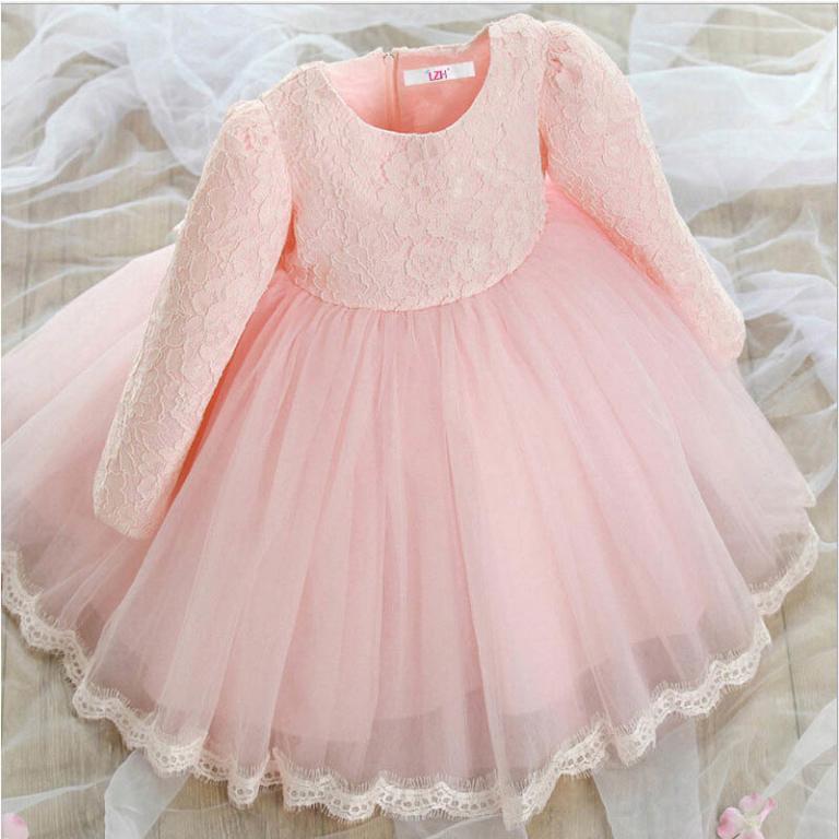 Нарядное платье с длинным рукавом Розовый Белый