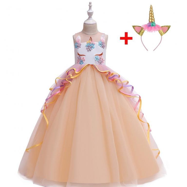 Нарядное длинное платье Единорожек 4 рацветки Новинка