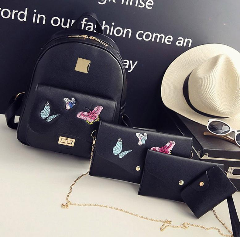 Комплект рюкзак Клатч Сумка Кредитница 4 шт. Вышивка Новинка Турист