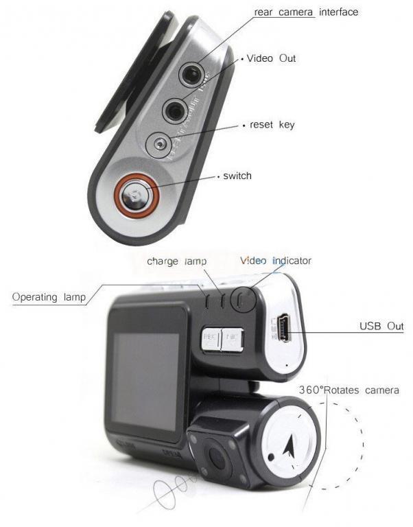 Bидеорегистратор DVR i1000 с камерой заднего вида