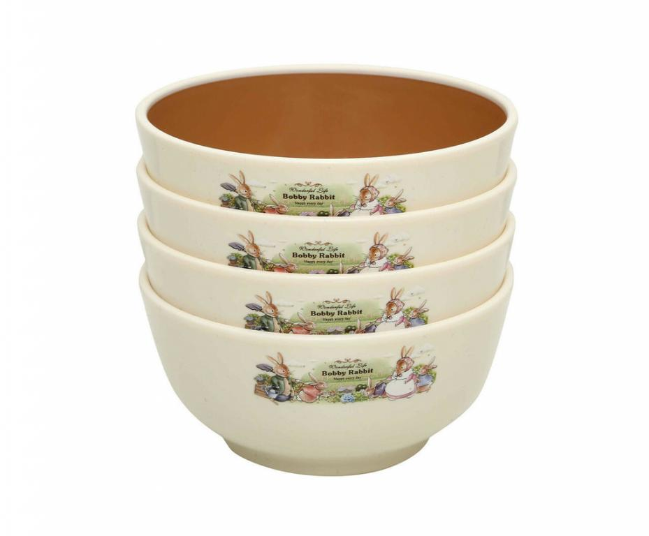 Набор детских тарелок с ложечками Bobby Rabbit 10,4х3,7см