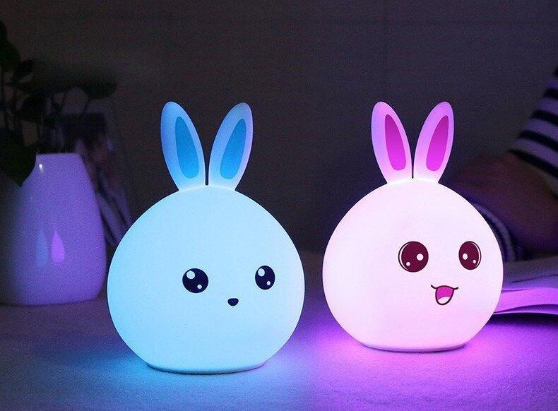 Ночник детский силиконовый Кролик белый
