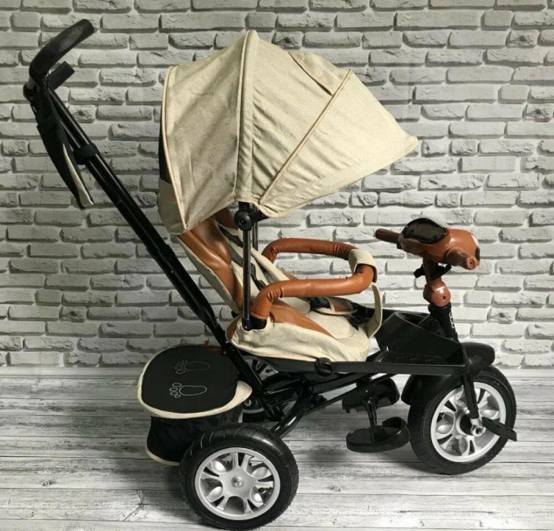 Велосипед трехколесный ткань лен, поворотное сиденье,музыка,надувные колеса Бежевый
