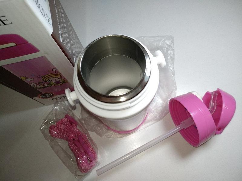 Детский термос с трубочкой 0.5 л розовый,голубой