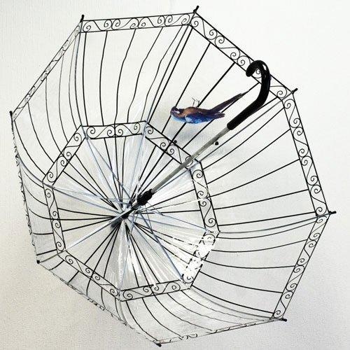 Купольный зонт-трость с изображением клетки с попугайчиком.