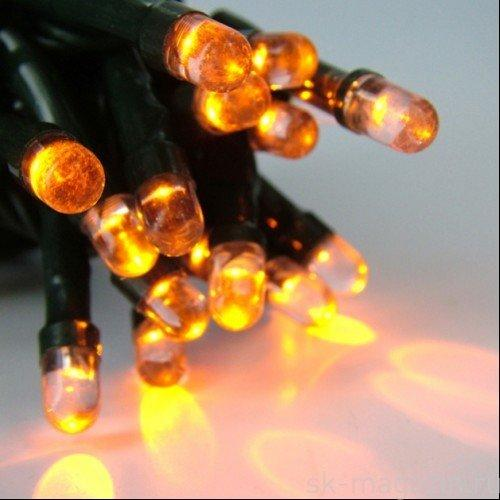 Уличная светодиодная гирлянда Нить 100LED 8 м 1м, черный шнур Желтая