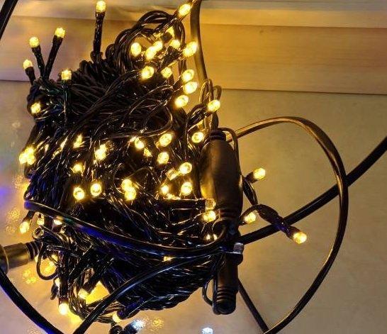 Уличная светодиодная гирлянда Нить 200LED 14 м, черный шнур Желтая