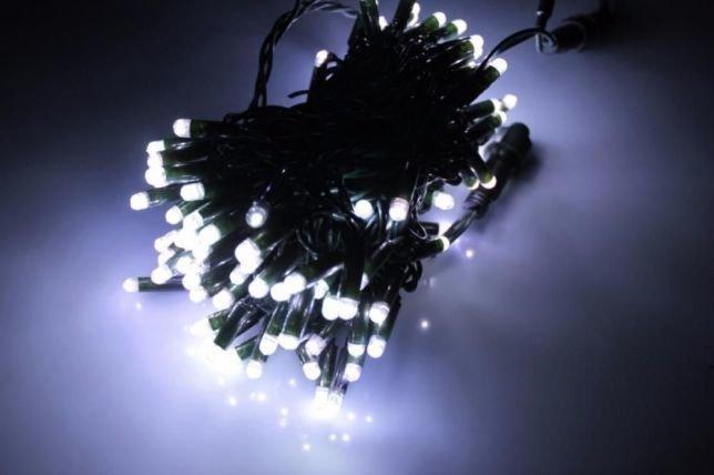 Уличная светодиодная гирлянда Нить 100LED 8 м 1м, черный шнур Белая