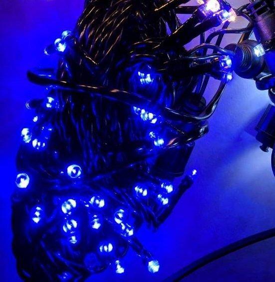 Уличная светодиодная гирлянда Нить 100LED 8 м 1м, черный шнур Синяя