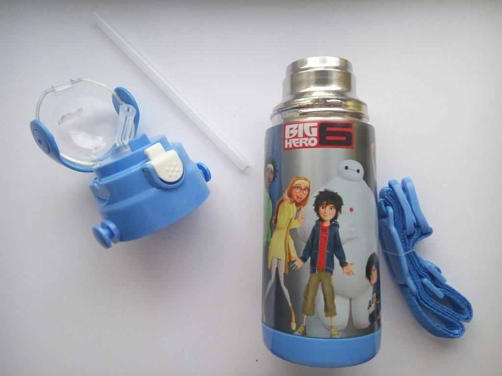 Термос детский с поилкой-трубочкой и откидной крышкой Disney Heroes