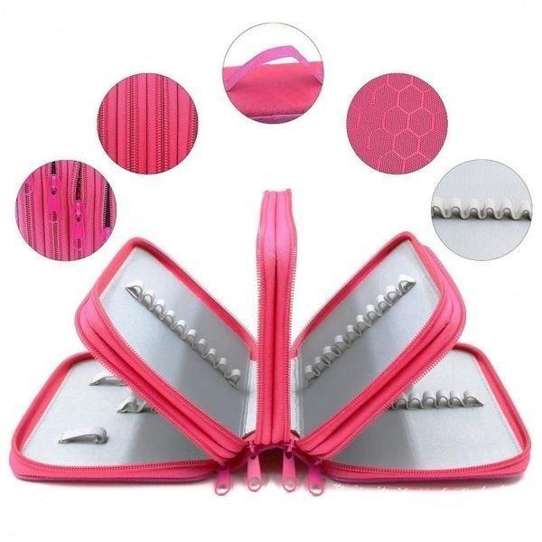 Школьный пенал на 4 отделения розовый