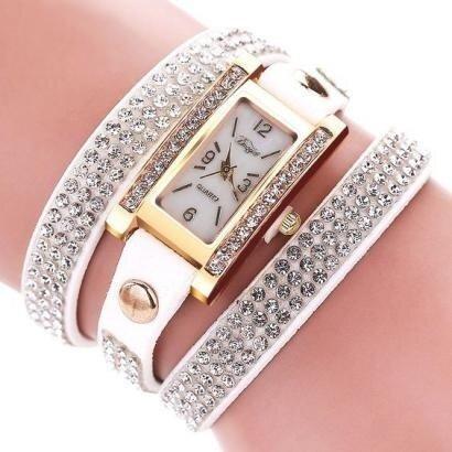 Женские часы-браслет со стразами белые
