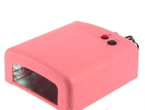 Уф лампа 818 на 36 вт для маникюра UV Nail lamp Розовая