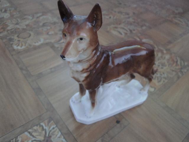 фарфоровая статуэтка-собака. овчарка