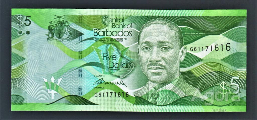 Барбадос 5 долларов 2013 год.